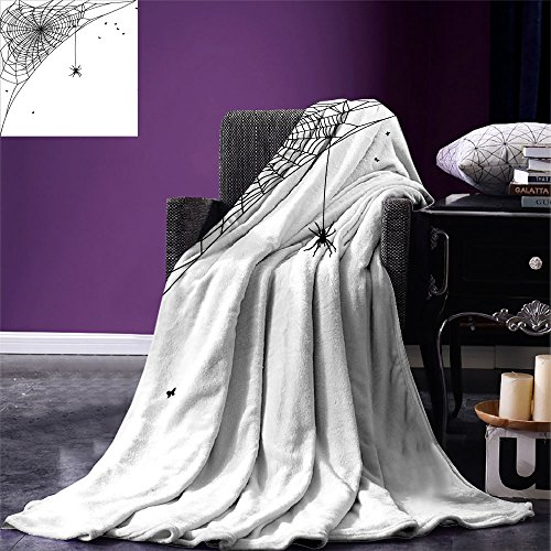 smallbeefly Spider Web Custom printed Throw Blanket Corner Cobweb with a Hanging Insect Hand Drawn Style Gothic Design with Flies Velvet Plush Throw Blanket Black White ()
