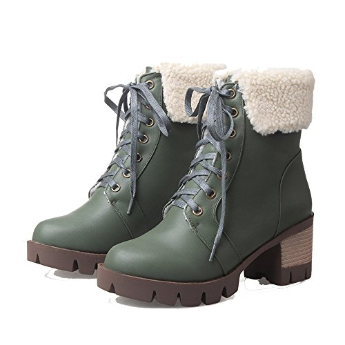 Verde Invernali Donna Shoes Stivali Tonda Stringata Bassi Scuro Chiusa Punta Ageemi zAFnBfn1