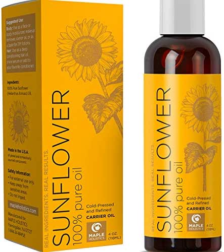 Pure Sunflower Oil Moisturizer for Face Body and Hair Cold Pressed Essential Oil Carrier for Aromatherapy Massage Anti Wrinkle Dry Skin Facial Cleanser Serum and Daily Conditioner for Hair Growth