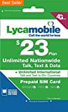 Lycamobile Preloaded Sim Card with $23 Plan Service Plan with Unlimited talk text and Data(up to 1G LTE speed) 1 Month Plan