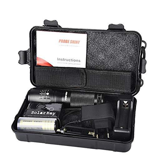 HCFKJ X800 Zoomable XML T6 LED Taktische Polizei Taschenlampe + 18650 Batterie + Ladegerät + Fall