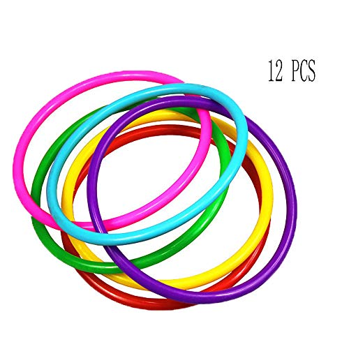 OBTANIM 12 Pcs Plastic Ring Toss Game for Kids and Outdoor Toss Rings for Speed and Agility Practice Games, Random Colors -