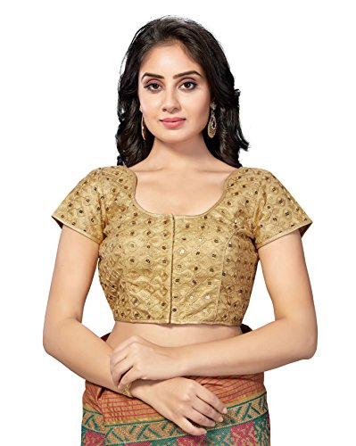 (TrendyFashionMall Readymade Embellished Sequin Work Saree Blouse Gold-04-LG-42)