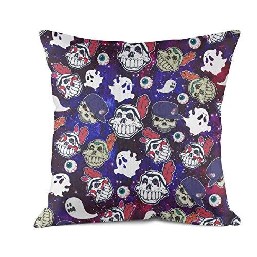 Heertty Throw Pillow Covers Cleveland Indians_Skull Baseball Art Sofa Cushion Pillowcases (18x18 Inch)