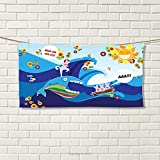 smallbeefly Whale Sports Towel Colored Hand Drawn Style Whale Fish and Rabbits with Sun Cartoon Illustration Absorbent Towel Multi Colored Size: W 12'' x L 35.14''