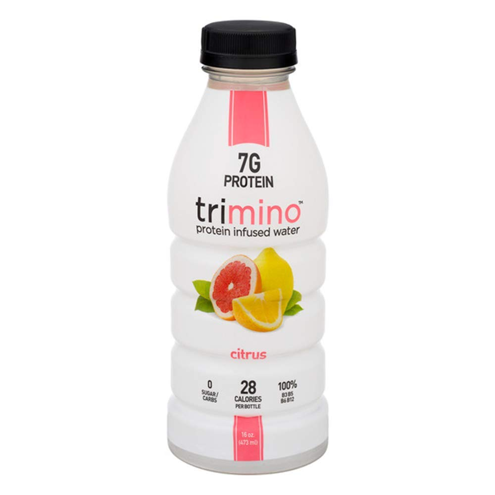 trimino Protein Infused Water, Natural, Citrus, 16 Oz (Pack Of 12)