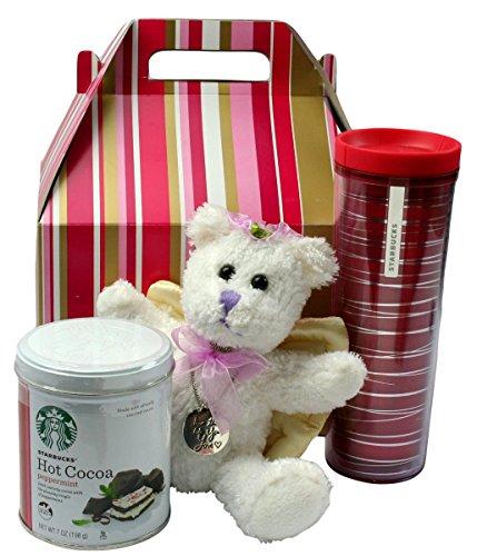 College Student Gifts Starbucks Travel Mug Peppermint Cocoa Angel Teddy Bear Inspiration Charm