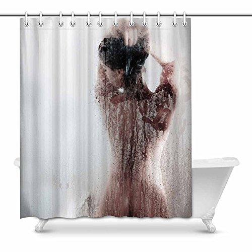 InterestPrint Beautiful Sexy Naked Woman Waterproof Shower Curtain Decor Fabric Bathroom Set with Hooks, 60(Wide) x 72(Height) Inches
