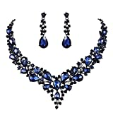 BriLove Wedding Bridal Necklace Earrings Jewelry Set for Women Austrian Crystal Teardrop Cluster Statement Necklace Dangle Earrings Set Navy Blue Sapphire Color Black-Silver-Tone
