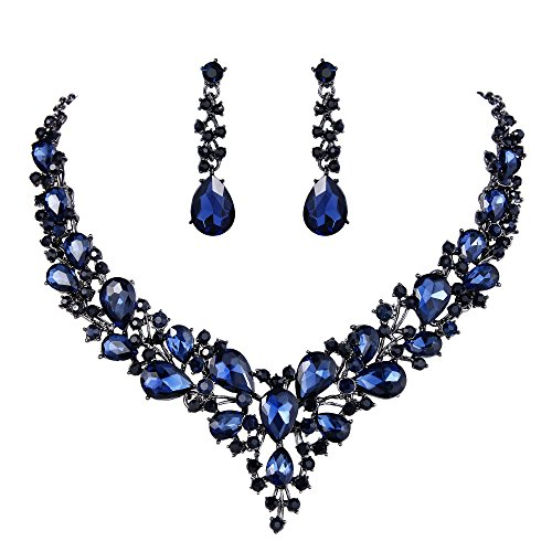 BriLove Women's Wedding Bridal Statement Necklace Dangle Earrings Jewelry Set with Austrian Crystal Teardrop Cluster Navy Blue Sapphire Color Black-Silver-Tone