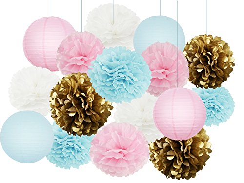 Furuix Gender Reveal Party Supplies Boy or Girl Baby Shower Decorations Baby Blue Pink White Gold Tissue Paper Pom Pom Paper Lanterns for Pink and Blue Decorations/Gender Reveal Party Decorations