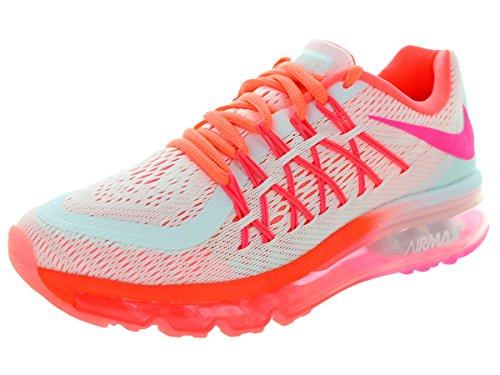 Nike Kids Air Max 2015 (GS) White/Pink Pow/Hot Lava/Lv Glw Running Shoe 4 Kids US