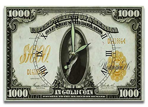 Alexander Hamilton Customized Money Clock United States Treasury Series 1907 1,000 Dollars In Gold Coin Note 8 x 12 inch clock U.S. Constitution