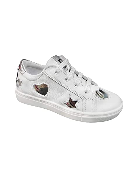 Melania Sneakers Bassa in Pelle con Cuori 84bfc6356d7
