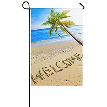 InterestPrint Summer Tropical Beach With Welcome Palm Tree Long Polyester Garden  Flag Banner 12 X 18