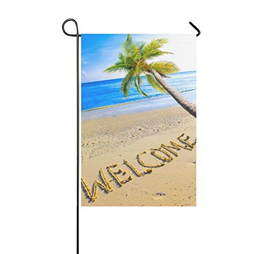 Welcome Banner Flag (InterestPrint Summer Tropical Beach with Welcome Palm Tree Long Polyester Garden Flag Banner 12 x 18 Inch, Ocean Sea Sand Decorative Flag for Wedding Anniversary Home Outdoor Garden Decor)