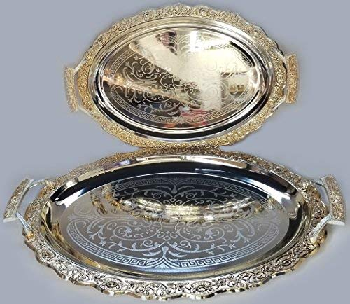 (Luxury Linen Beautiful Decorative 2 Pieces Stainless Steel Tea & Coffee Serving Tray Gold and Silver Plated Serving Tray Oval Platter Glossy, Party Serving With Metal Handles New # 5658)