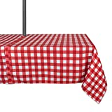DII Spring & Summer Outdoor Tablecloth, Spill Proof and Waterproof with Zipper and Umbrella Hole, Host Backyard Parties, BBQs, & Family Gatherings - (60x120'' - Seats 10 to 12) Red Check