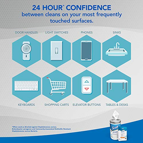 Scott 24 Hour Sanitizing Wipes – Multi-Surface Cleaning & Disinfecting, Continuous Sanitization For 24 Hours – (41526), 50 Packs x 10, 500 Wipes