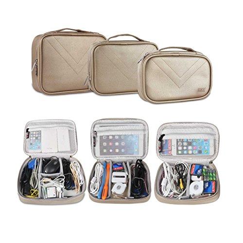 UBORSE Electronics Accessories Organizer Travel Gear Storage PVC Waterproof Portable Organizer Handbag Makeup Case Cosmetic Bag, Champagne (Trunk Triple Pouch)