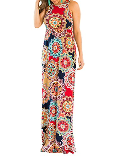 DUNEA Women's Maxi Dress Floral Printed Summer Sleeveless Casual Tunic Long Maxi Dress (Large, Medallion1) - Floral Printed Jersey Dress