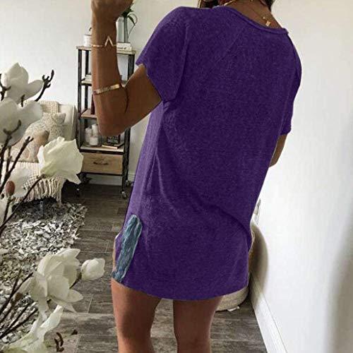 Sciolto Moda Shirt Collo Eleganti Base Tops Maglietta Camicetta di Button Bluse Libero Estivi Tempo Rotondo Donna con Giovane Manica Corta Donne 4qqUPIAZ