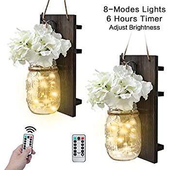 VIEFIN Mason Jar Sconces Wall Decor,Rustic Wall Sconces Home Decor with Remote Control, Silk Hydrangea,Dark Gray Wood Board and LED Strip with 20 Fairy Lights(2 Pack, White)