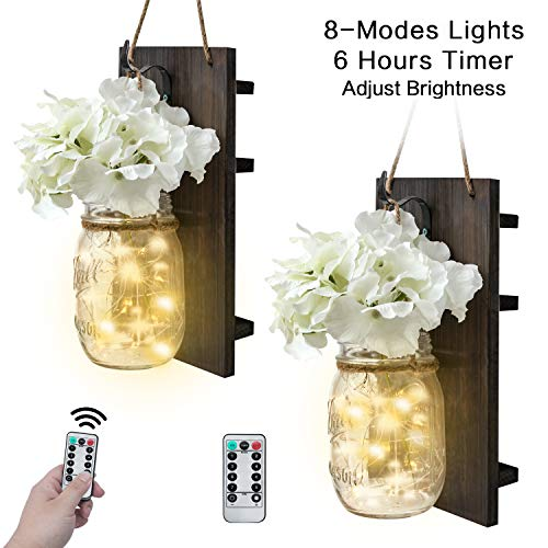Mason Jar Sconces Wall Decor,Rustic Wall Sconces Home Decor with Remote Control, Silk Hydrangea,Dark Gray Wood Board and LED Strip with 20 Fairy Lights(2 Pack, White)