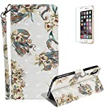Funyye Folio Wallet Case for iPhone X,Stylish 3D Dragon Flower Fantasy Painted Design Strap Magnetic Flip Case with Stand Credit Card Holder Slots Soft Silicone PU Leather Case for iPhone X,Full Body Shockproof Non Slip Smart Durable Shell Protective Case with Screen Protector