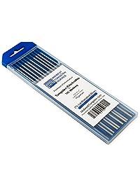"""Electrodos de tungsteno para soldadura TIG, con lantano 2 , 3 32"""" x 7"""" (azul, WL20), paquete de 10 unidades"""