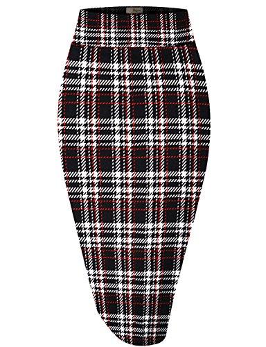 Womens Pencil Skirt for Office Wear KSK43584X 10917 RED/Black 1X