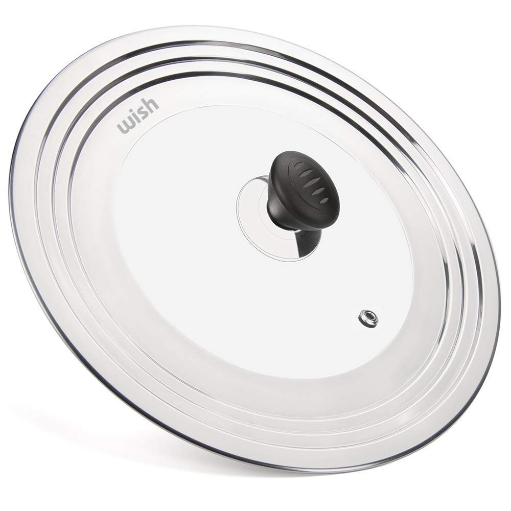 WISH Universal Pan Lid Pot Lid for All 8.25'' to 12.5'' Pots/Pans, Stainless Steel and Glass Lid Frying Pan Lid Cover and Cookware Lids
