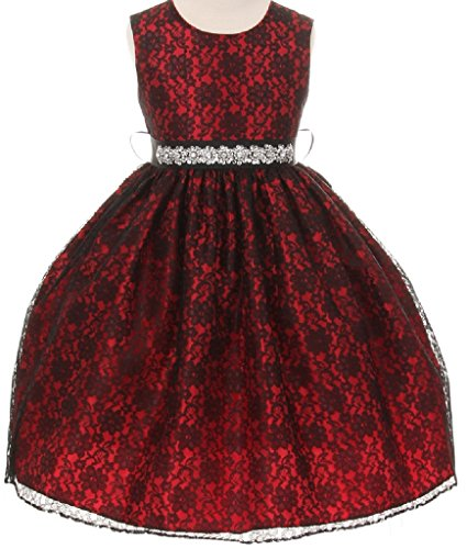 Red Cropped Satin Gloves (Little Baby Girls Lace Taffeta Jeweled Belt Sash Flowers Girls Dresses Red Size M)