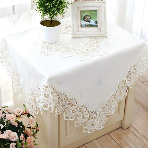 TaiXiuHome White European Style Minimalist Floral Embroidery Lace Tablecloth Hollow Top Decoration Square Approx 43x43 inch -