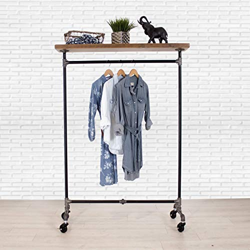 (Industrial Pipe Rolling Clothing Rack with Cedar Wood Top Shelving by William Robert's Vintage)