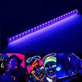 Black Light Fixtures, Elfeland 24 LED UV Black Light Bar 5W 395nm Ultraviolet Blacklight Tube T5 Integrated UV Bar Extendable Blacklight Tube Portable for DJ Stage Party Club Dorm (Linkable)