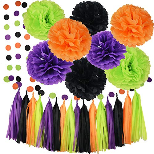 Halloween Party Decorations Orange Black Purple Green Color Tissue Pom Pom Paper Garland Halloween Garland Halloween Decorations Birthday Decorations Purple Halloween Party Supplies ()