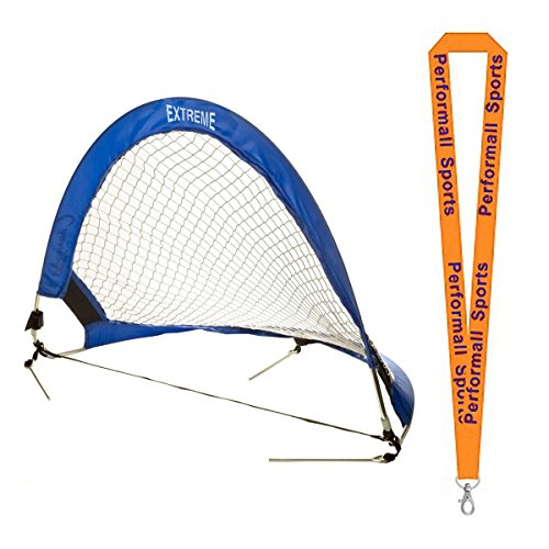 Champion Sports Extreme Soccer Portable Pop-Up Goal Blue/White Bundle with 1 Performall Lanyard SG4830-1P by Champion Sports