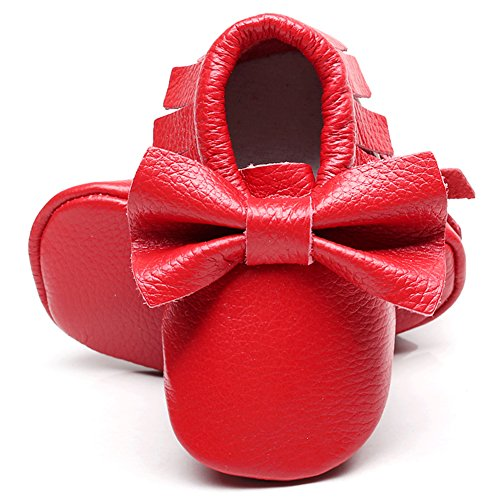Jamron Bebé Encantador Bowknot Borla Cuna Zapatos Infantil Niñito Suave Suela Zapatillas Prewalker 0-24 Meses Rojo