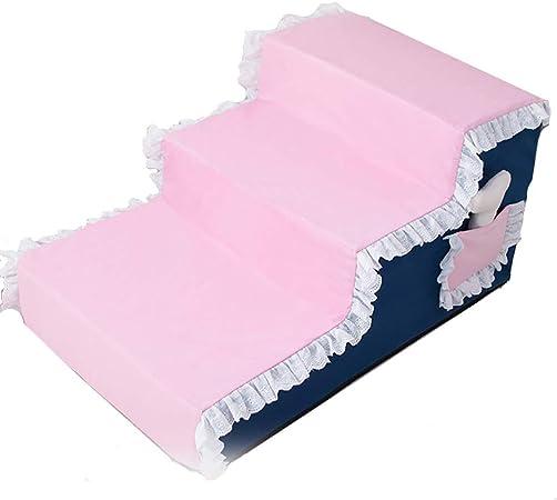 XUEYAN Escalera Rosada de 3 Pasos para escaleras para Perros para sofá Cama Alto, Funda Lavable, cojín de peldaño para Mascotas (Color : Pink): Amazon.es: Hogar