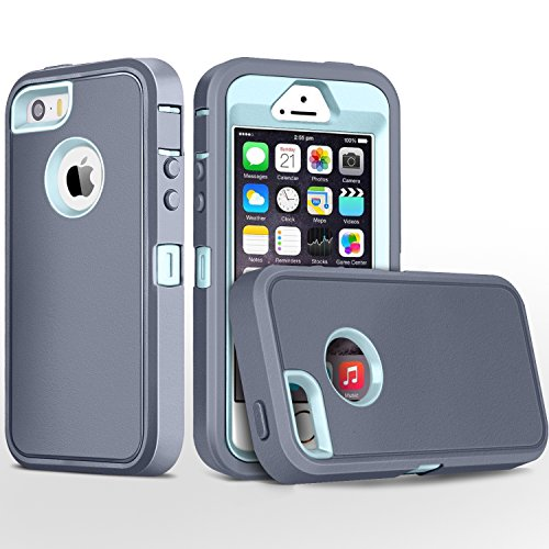 iPhone 5S Case,iPhone SE Case,Fogeek Heavy Duty PC and TPU Combo Protective Defender Body Armor Case for iPhone 5S,iPhone SE and iPhone 5 with Finger Print Function (-Grey/Light Blue-)