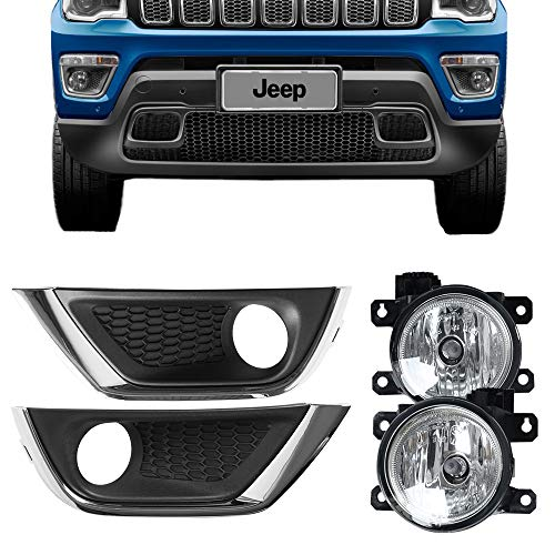 Fog Lights Fits 2017-2018 Jeep Compass | Factory Style Fog Light Lamp Kit Clear Lens Pairs by IKON MOTORSPORTS