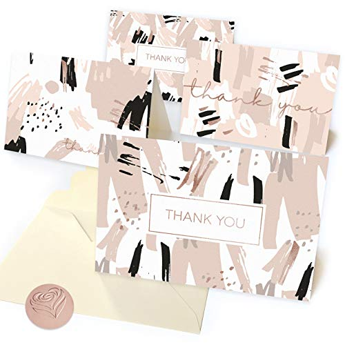 Rose Gold Thank You Cards Set - 40 Beautiful Thank You Notes, 40 Embossed Envelopes, 40 Bright Rose Gold Stickers | Perfect for Wedding, Business, Bridal or Baby Shower | Matte Paper Blank Inside 4x6 ()