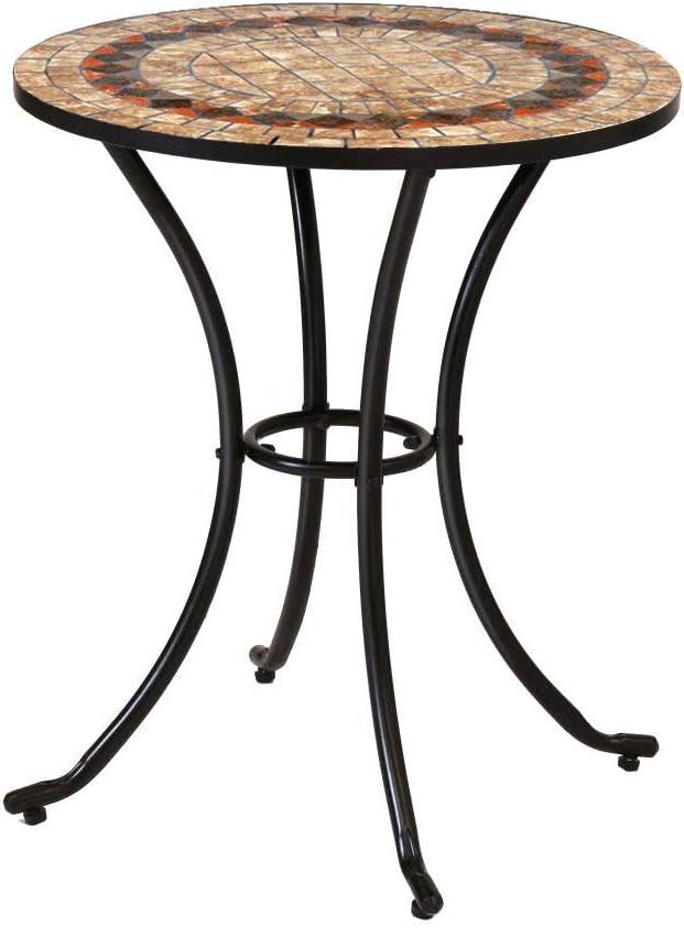 Mesa de jardín Auxiliar de cerámica marrón de 60x70 cm - LOLAhome