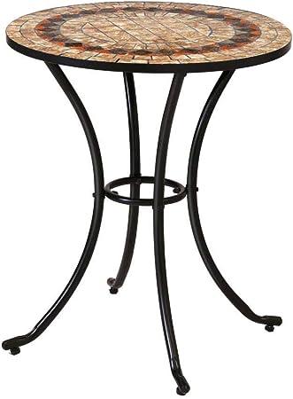 Mesa de jardín Auxiliar de cerámica marrón de 60x70 cm - LOLAhome: Amazon.es: Hogar