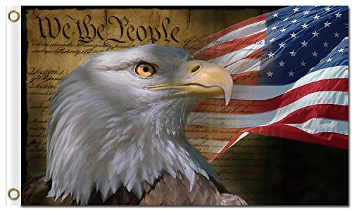 SINONARUI American Us Mad People Posters and Bald Eagle Symbol Polyester Flag with Brass Grommets 3 X 5 Feet