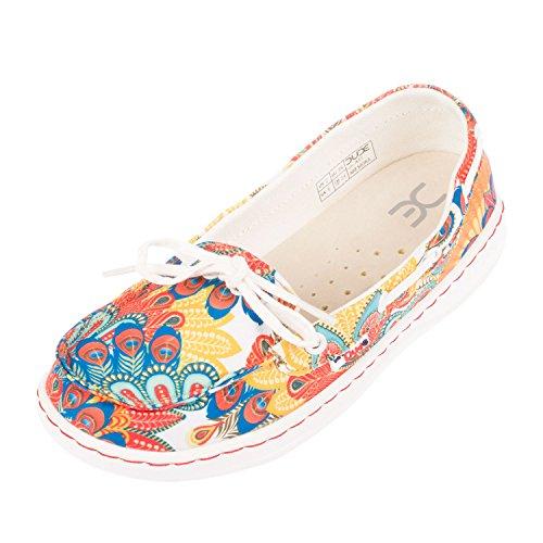 Women's Dude Multi Moka Shoes White Colour Funk Deck Slip Peacock On Shoe Zxx645w