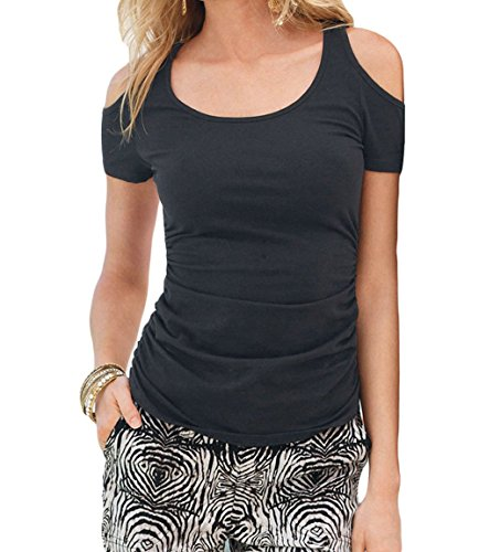 Christmas PEGGYNCO Womens Black Scoop Neck Cold Shoulder Stylish T-shirt Size M
