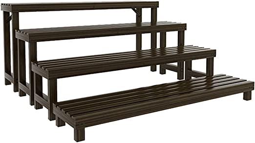 RKY Estante de la Planta Soporte for Flores, 4 Capas de Escalera de Madera, Tipo de Piso, combinación anticorrosiva for macetas, Apta para: Sala de Estar/balcón/Exterior/jardín, 4 tamaños dispon: Amazon.es: Hogar