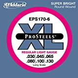 D\'Addario EPS170-6 6-String ProSteels Bass Guitar Strings, Light, 32|130, Long Scale